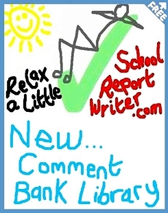 FREE school report card comments bank and FREE online school report writing app.